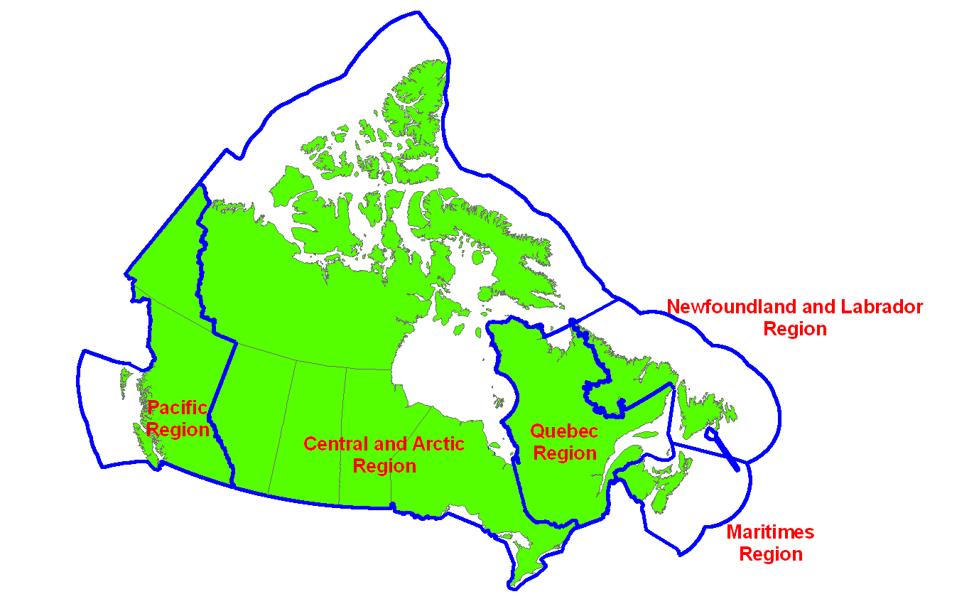 List of Canadian Coast Guard Bases and Stations Wikipedia – Regional Map of Canada