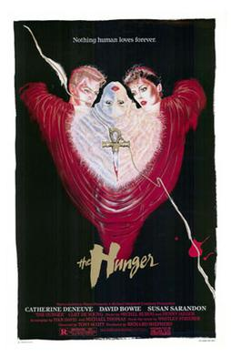 Film poster for The Hunger, an influence in the early days of the goth subculture[61]