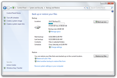 windows backup: