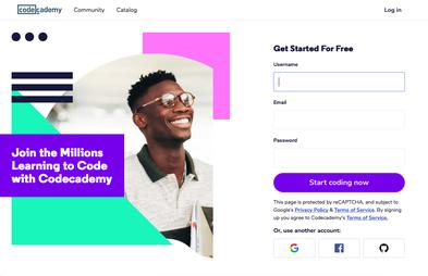 codecademy landing page