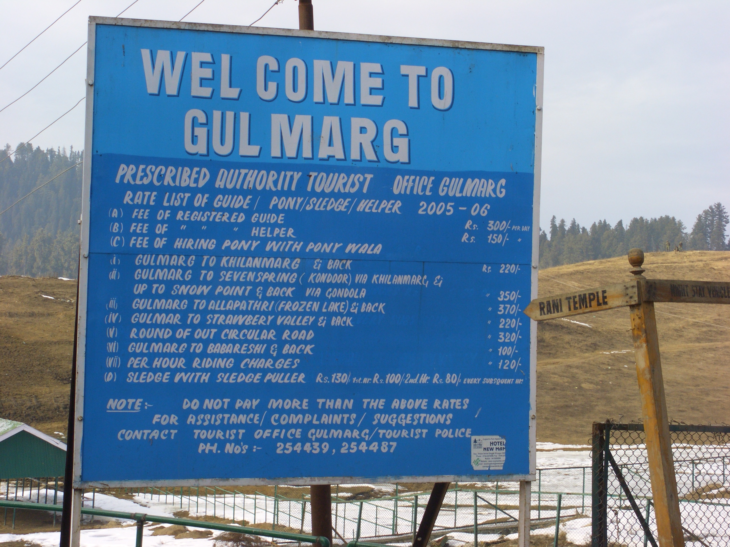 File Gulmarg Tourist Rate List Jpg Wikipedia