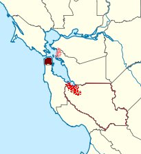 Map visualization of traditional Silicon Valley in red (bottom), San Francisco in maroon (left), and the Berkeley tech cluster in peach (right). Map of Norcal highlighting Silicon Valley tech clusters.png