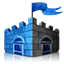 Logo of Microsoft Security Essential: A blue castle with a flag on the top and two gates