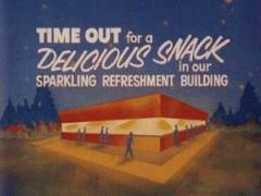 Snack bar ad shown at a drive-in.