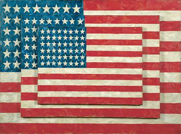 "Jasper Johns, ""Three Flags"", 1958, encaustic on canvas"