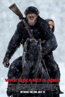 Caesar, with a shotgun and Nova behind his back, Maurice, and Luca on horses face a human army and turncoat apes with the film's logo and