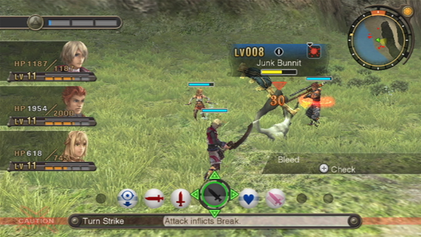 A battle between Shulk (the player), Reyn, and Fiora against some hostile wildlife in Xenoblade Chronicles. Xenoblade - Battle System (without Monado).png