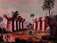 Depiction of latte stone colonnades on the island of Tinian.