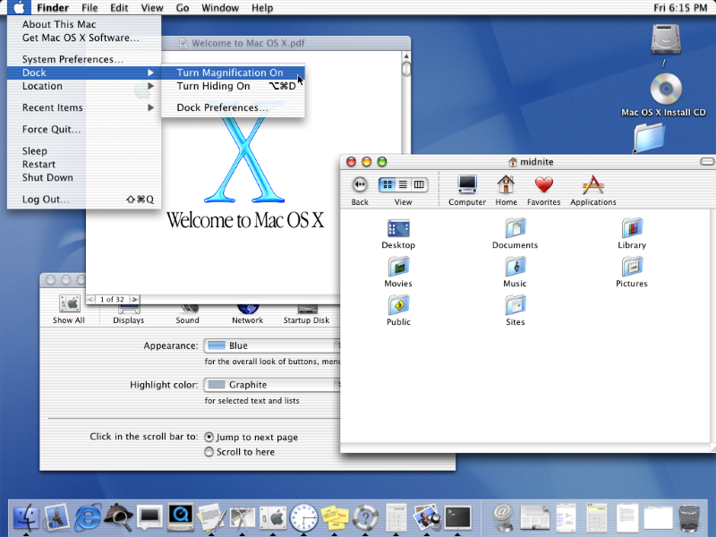 Aqua User Interface elementen van Apple: Mac OS X (2001)