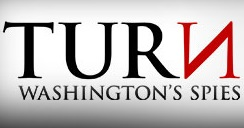 "The new title for the series, which shows the words ""TURN: Washington's Spies"" (with a backwards ""n"") in black text on a white background."
