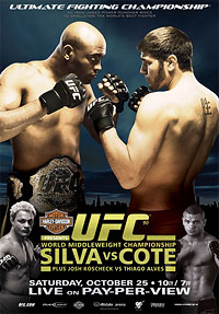 A poster or logo for UFC 90: Silva vs. Côté.