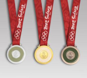The reverse side of the medals of the 2008 Sum...
