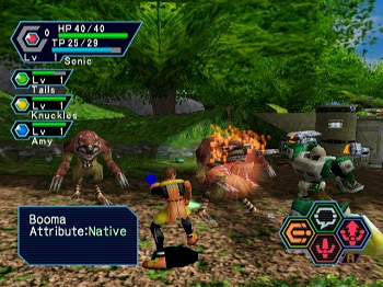 A player battling enemies in the forests of Ragol with three other players Phantasy Star Online screenshot.png
