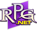 The letters RPG with a small gold net below, layered over a purple rhombus