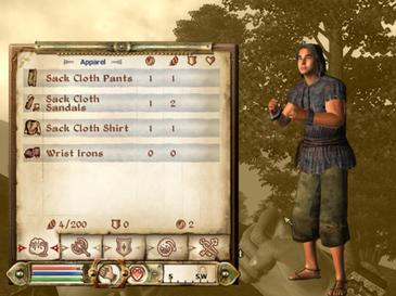 The inventory interface, where the player garbs, armors, and equips their character Standard inventory interface, Oblivion 2006-12-27.jpg