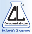 "The phrase ""ConsumerLab.com: Be Sure It's CL Approved"" in a black and blue font, ConsumerLab.com's current corporate logo."