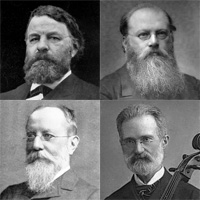 four head and shoulders pictures of middle-aged men, all with facial hair