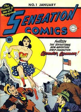 Wonder Woman's first cover, Sensation Comics #...