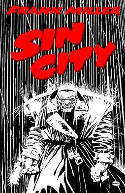 Marv walking through the rain in The Hard Goodbye cover by Frank Miller, illustrating Miller's film noir-influenced visual style