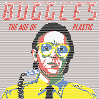 "A cartoon version of Trevor Horn. On top of it is the red text ""Buggles The Age of Plastic,"" as well as some of the names of the tracks included on the album."