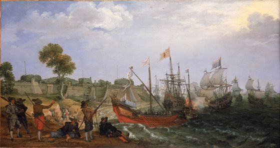 File:Dutch Squadron attacking Spanish fortress.jpg