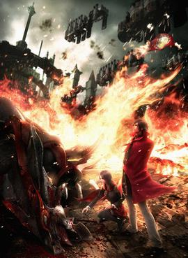 Artwork representing the themes and atmosphere of Type-0. The artwork was created by the game's art director Yusuke Naora, who drew on personal experience and the game's themes of war and death. FF Type-0 key art.jpg