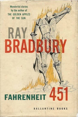 "This original cover shows a drawing of a man, who appears to be made of newspaper and is engulfed in flames, standing on top of some books. His right arm is down and holding what appears to be a fireman's hat made of paper while his left arm is as if wiping sweat from the brow of his bowed head. The title and author's name appear in large text over the images and there is a small caption in the upper left-hand corner that reads, ""Wonderful stories by the author of The Golden Apples of the Sun""."