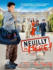 DVD cover depicting in the foreground an Arab boy with a duffel bag, and in the background a family standing in front of a fancy house. The words Neuilly sa mère ! are visible in front of the family.
