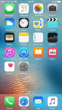 The iPhone Home screen of iOS 9 shows most of the applications provided by Apple. Users can download additional applications from the App store, create Web Clips, rearrange the icons, and create and delete folders. - iPhone