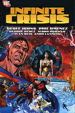 A montage of circles showing Batman, Superman, and Wonder Woman standing together; Superboy fighting Superboy-Prime; and Black Adam leading other villains in front of a red background with Kal-L's face