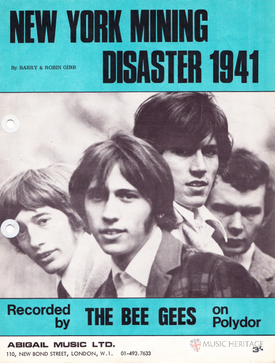 "1967 sheet music cover, Abigail Music, Ltd., London. ""Recorded by the Bee Gees on Polydor""."