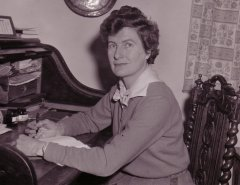 Photo of Monica Edwards at her writing desk in 1966.