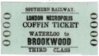 "Railway ticket labelled ""Southern Railways London Necropolis Coffin Ticket, Waterloo to Brookwood, Third Class"