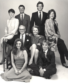The original core family, the Hugheses, in the 1980s: Clockwise from top left: Kim Sullivan Hughes (Kathryn Hays), Bob Hughes (Don Hastings), Tom Hughes (Gregg Marx), Margo Montgomery Hughes (Hillary Bailey Smith), Andy Dixon (Scott DeFreitas), Frannie Hughes (Julianne Moore) Center: Chris Hughes (Don MacLaughlin) and Nancy Hughes (Helen Wagner)