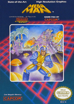 "Artwork of a dark blue, vertical rectangular box. The top portion reads ""Mega Man"" along with various other labels, while the artwork depicts a humanoid figure in a blue and yellow outfit armed with a handgun and standing at the forefront of several exotic structures."