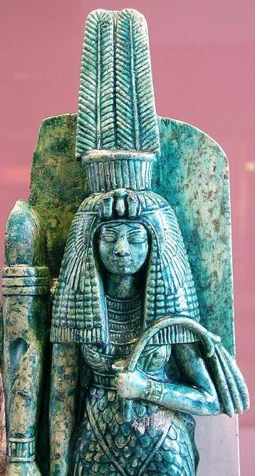 Queen Tiye, whose husband, Amenhotep III, may have been depicted to her right in this broken statue Queen Tiye - cropped - probably with her husband Amenhotep III - 34 louvre - egyptarchive.JPG