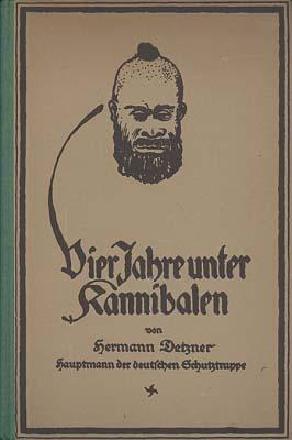 "Book illustration showing a man with facial hair and a top knot in the middle of his head. The title is ""Vier Jahre unter Kannibalen""."