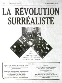 Cover of the first issue of La Revolution surrealiste, December 1924. La Revolution Surrealiste cover.jpg