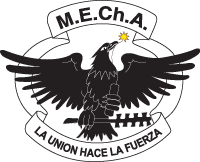 One common feature of logos used by MEChA chapters, an Eagle holding a lit stick of dynamite and a macuahuitl.