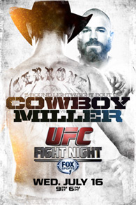 A poster or logo for UFC Fight Night: Cerrone vs. Miller.