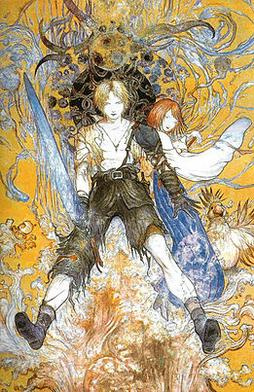 Amano's work on the Final Fantasy series, as with his science fiction and fantasy illustrations, is known for its wispy lines and vibrant use of color. Final Fantasy X Amano.jpg