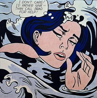 Roy Lichtenstein used the splash page of a romance story in DC Comics Secret Hearts #83 (November 1962), lettered by Ira Schnapp, as the basis for the image.