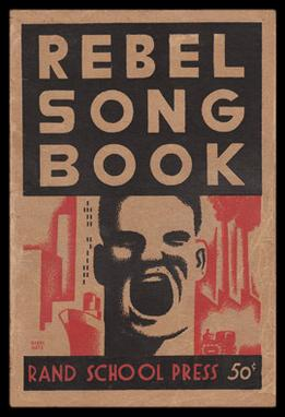 The youth and militance of the Great Depression-era is reflected in the cover of this 1935 song book published by the Socialist Party of America-affiliated Rand School Press