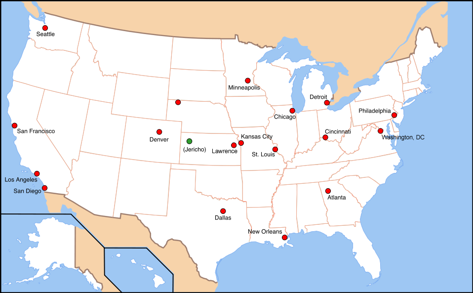 outline of the usa map with File Cities Destroyed In Jericho Tv Series V4 on Niue moreover Red River Delta Region Map moreover Yemen together with Atlanta together with Celtic Design Shamrock Sticker.