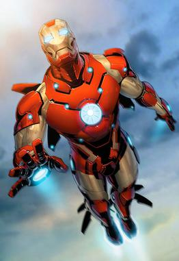 Iron Man in his Bleeding Edge armor. Cover art...