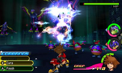 A battle in the game, featuring the Command Deck commands on the left side of the screen, and the two selected Spirits and the Drop meter on the right side. Sora is the character in use, with his health meter and character portrait at the bottom right. Kingdom Hearts Dream Drop Distance gameplay.jpg