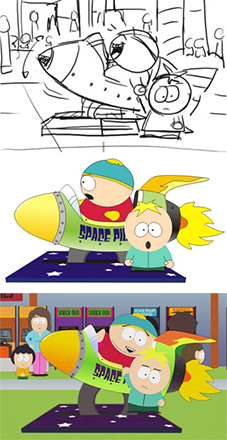Montage showing the stages of an animation process: On top, a simple black and white sketch of a male child in a rocket kiddie-ride, while another young child stands next to the ride and reluctantly holds the rider's hand. In the middle, stock animation characters reflecting the sketch shown at top, sans background characters, at bottom, a screenshot of a fully animated frame showing the same event, complete with characters and arcade games in the background