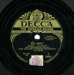 Original 1929 Decca release of Sea Drift by Delius, first published recording of the work, but deleted by 1936 Decca 1929 Sea Drift.jpg