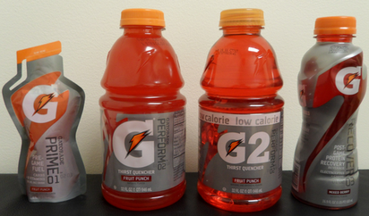 G Series introduced in 2010, from left to right: Prime 01 (pre-game fuel) Perform 02: Gatorade Thirst Quencher (original Gatorade) Perform 02: G2 low-calorie Recover 03 (post-game protein) GatoradeG4types.png