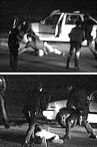 Screenshots of King lying down and being beaten by LAPD officers